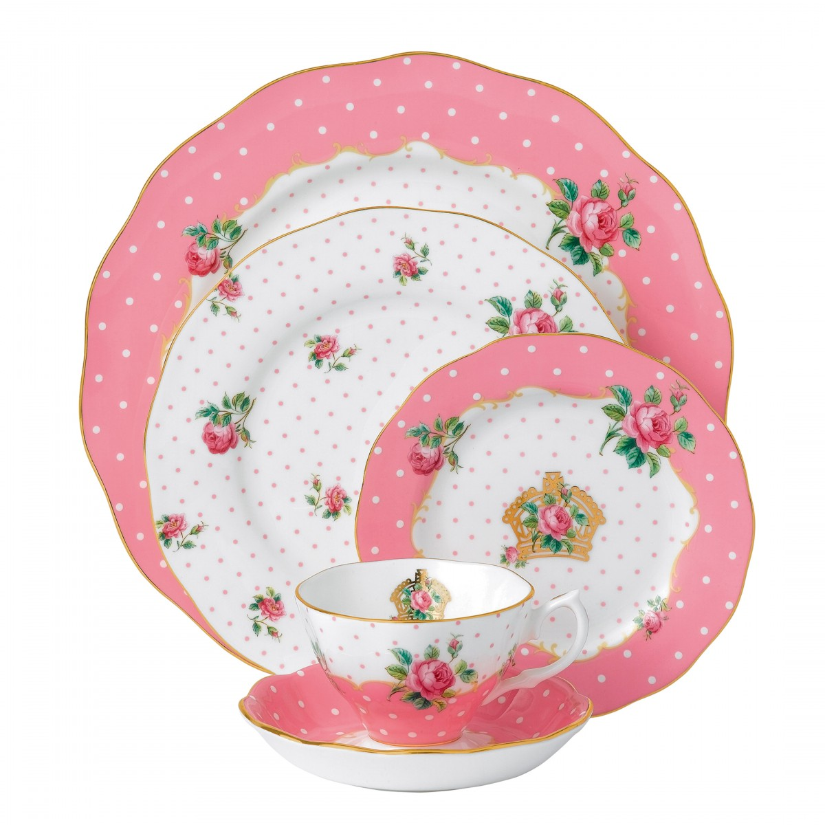 Royal Albert China New Country Roses Cheeky Pink Vintage, 5 Piece Place Setting