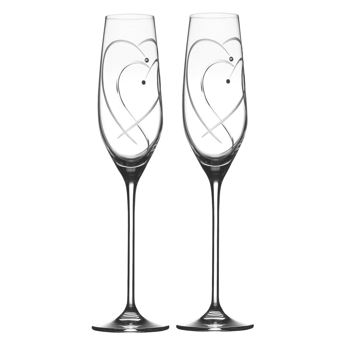 Royal Doulton, Celebrations Two Hearts Entwined Toasting Flute, Pair