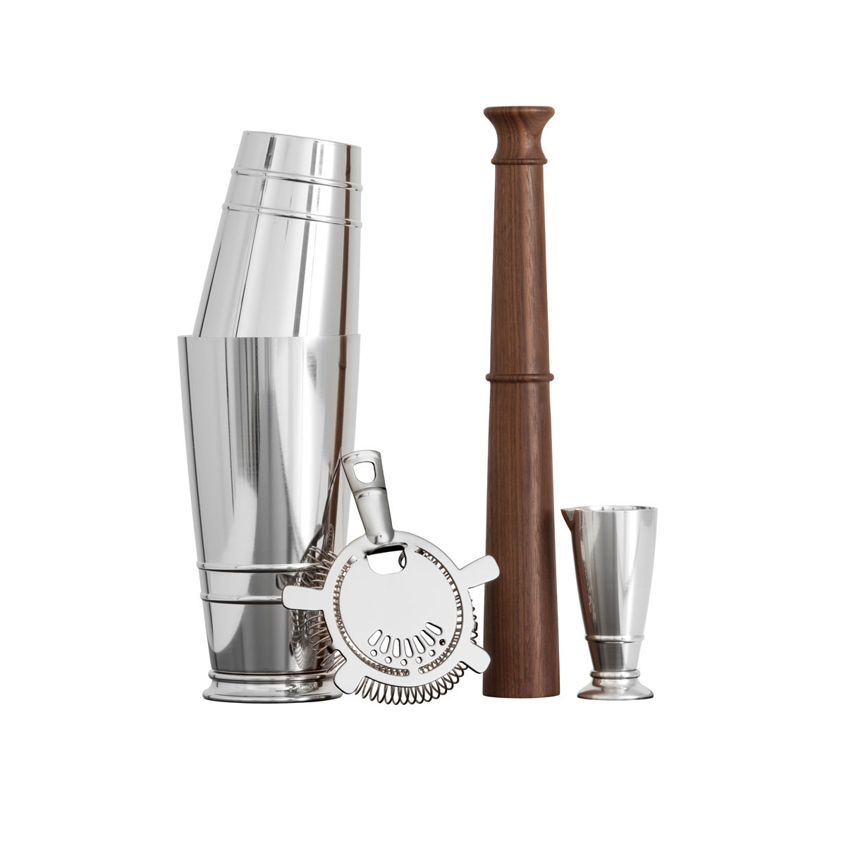 Crafthouse by Fortessa Shaker Set (Boston Shaker, Hawthorne Strainer, Jigger, Muddler)