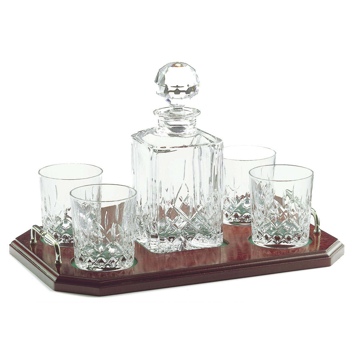 Galway Longford Square Decanter and DOF on Tray Set