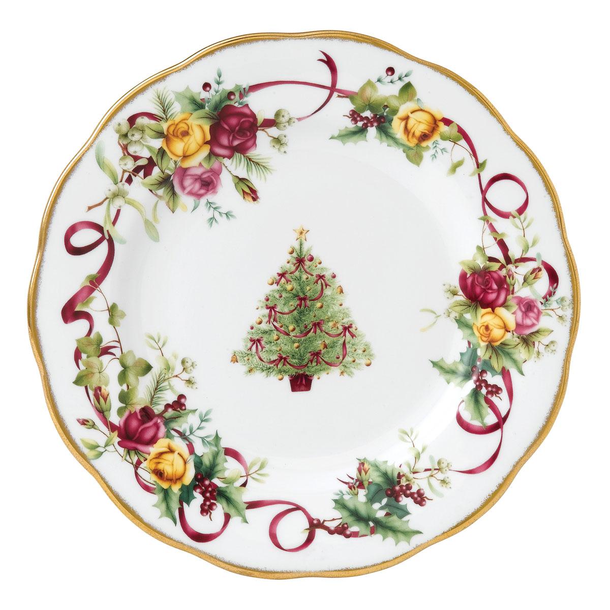 Royal Albert Old Country Roses Christmas Tree Salad Plate, Single