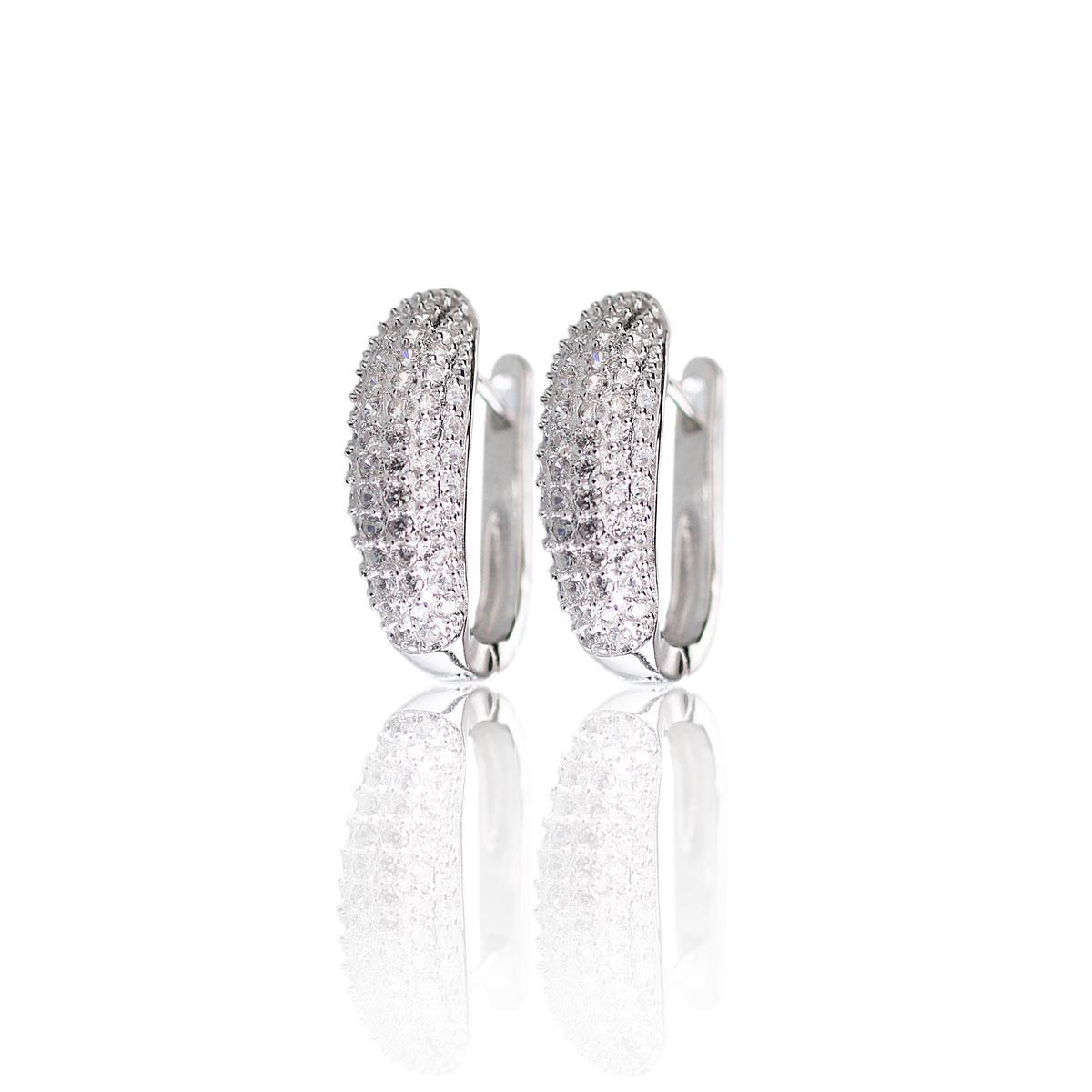 Cashs Ireland, Crystal Pave Sterling Silver Hoop Pierced Earrings Pair