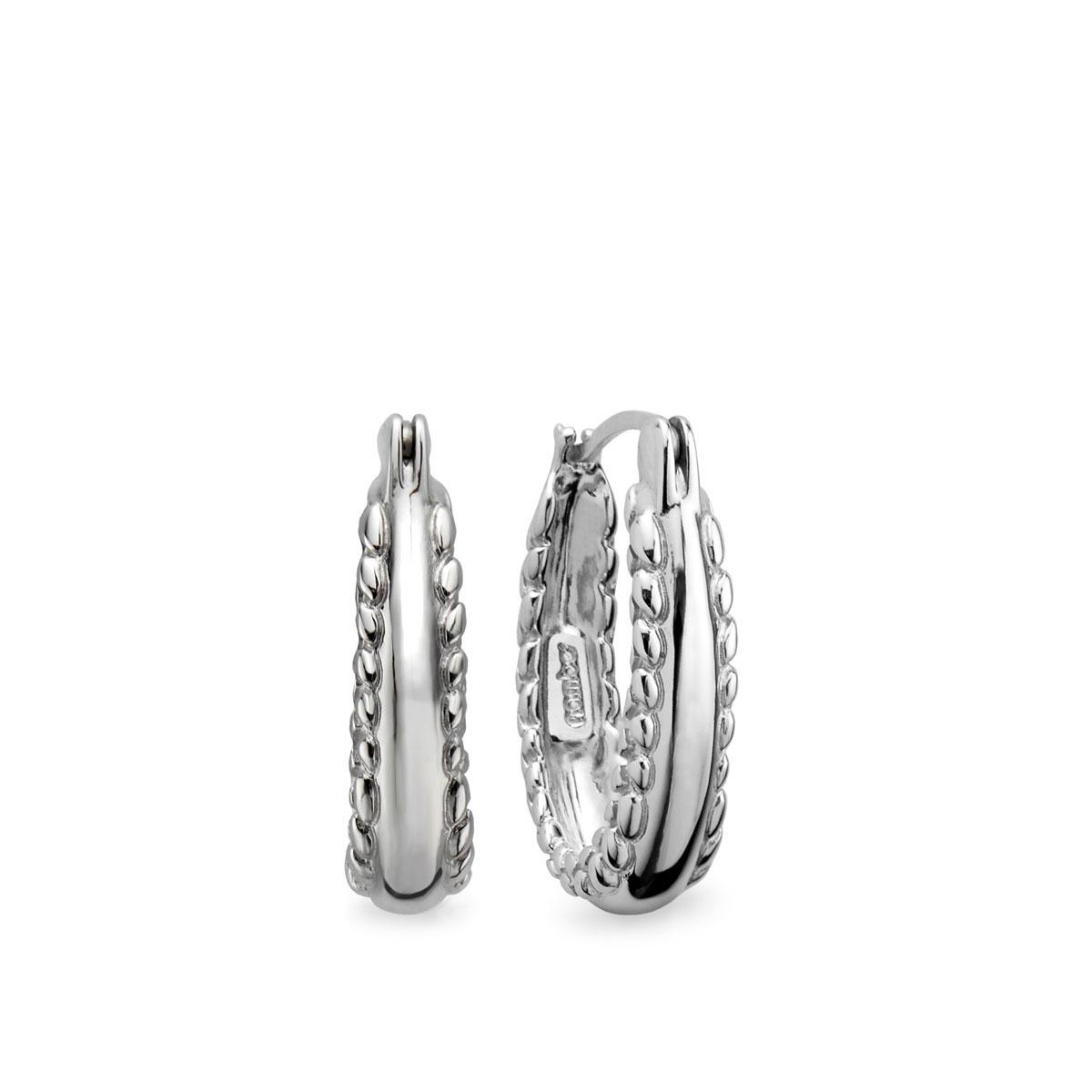 Nambe Jewelry Silver Braid Hoop Earrings, Pair