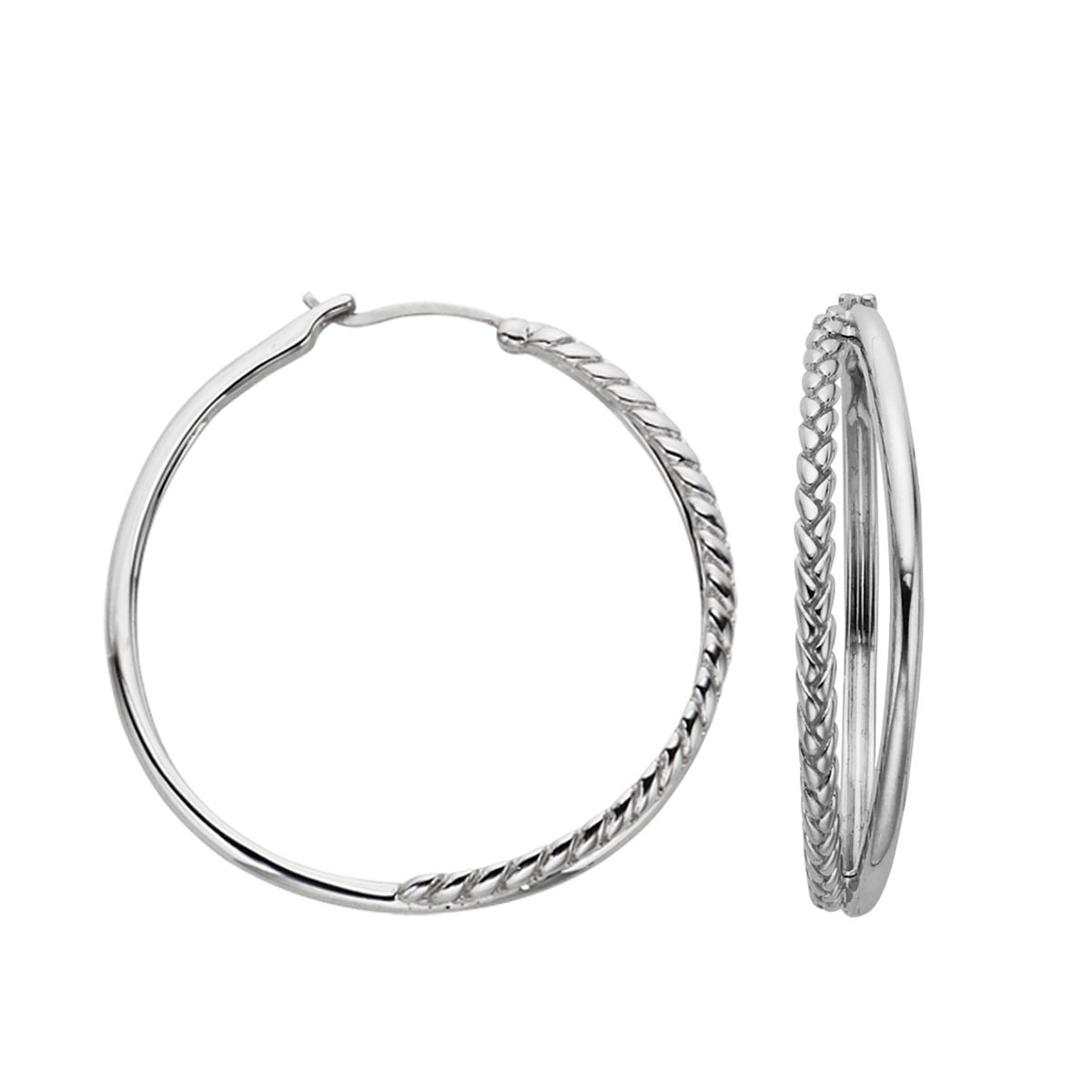 Nambe Jewelry Silver Detached Braid Hoop Earrings, Pair