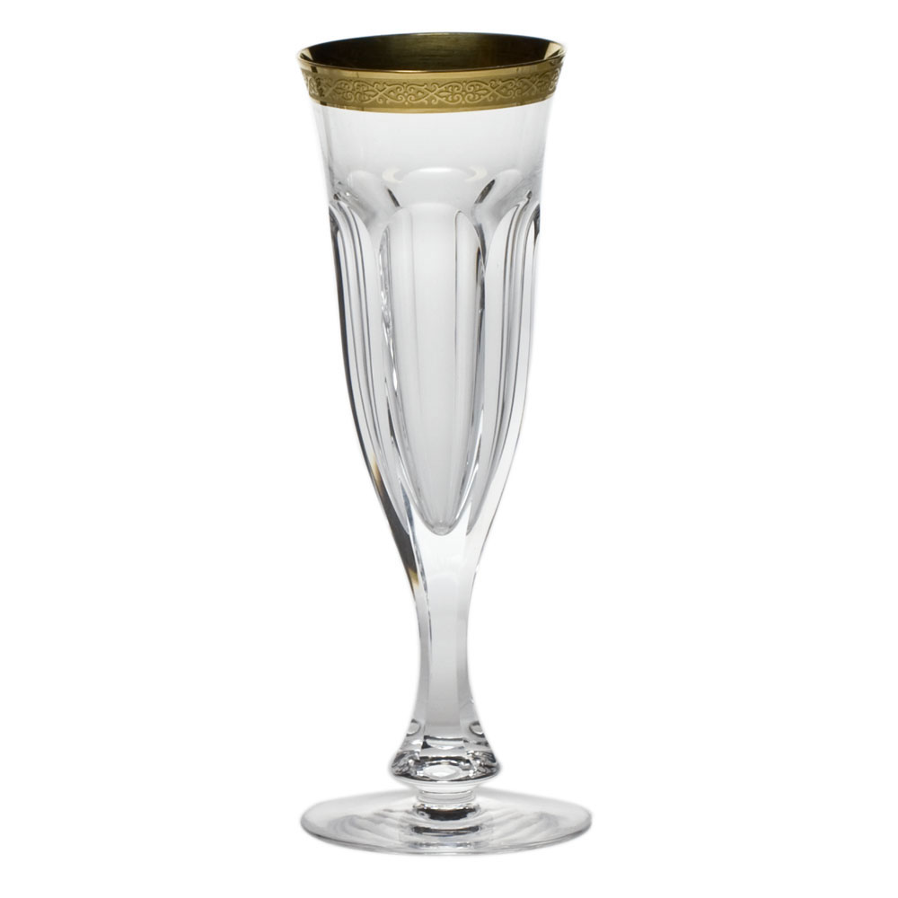 Moser Crystal Lady Hamilton Etched and Gilded Champagne Flute, Single