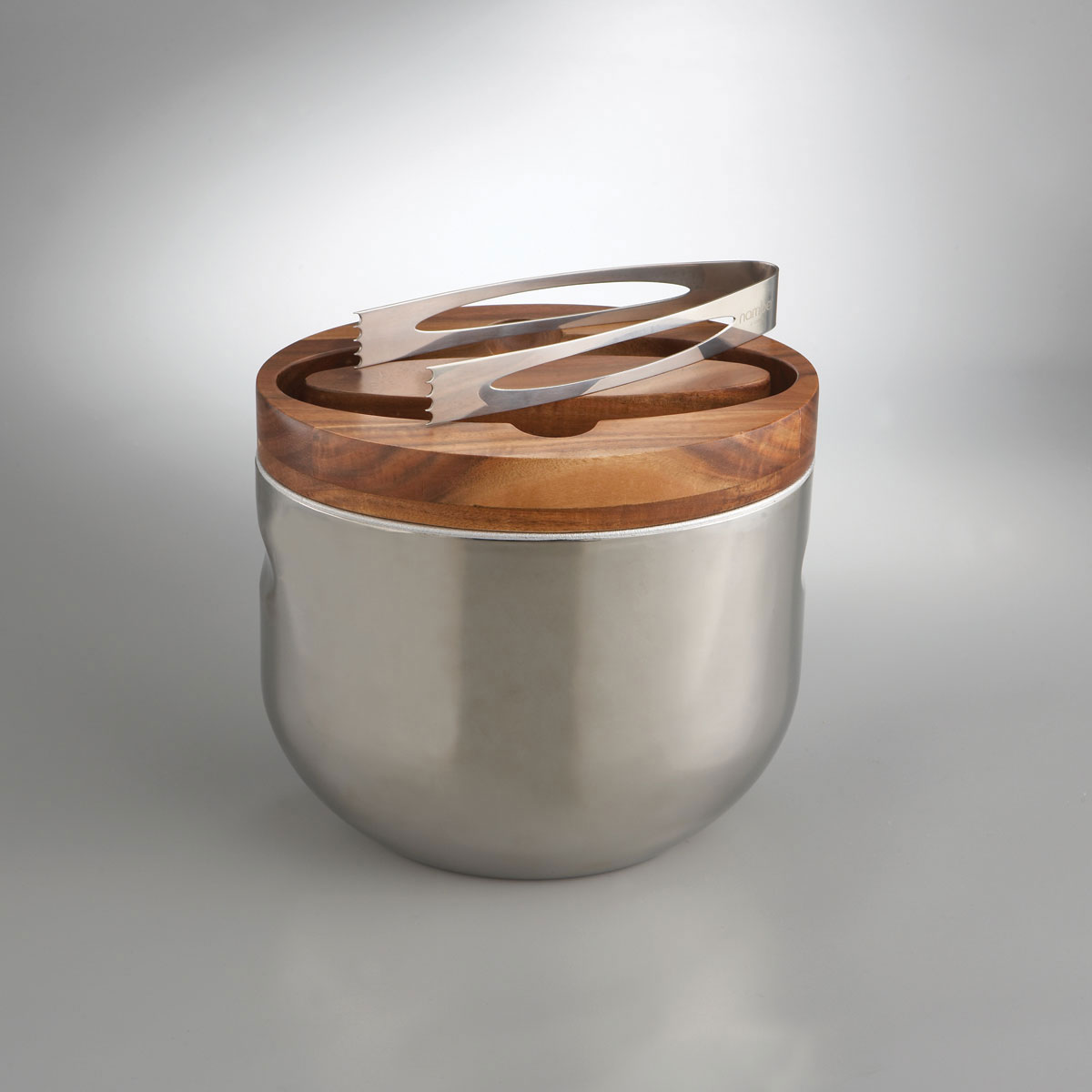 Nambe Metal Mikko Ice Bucket With Tongs