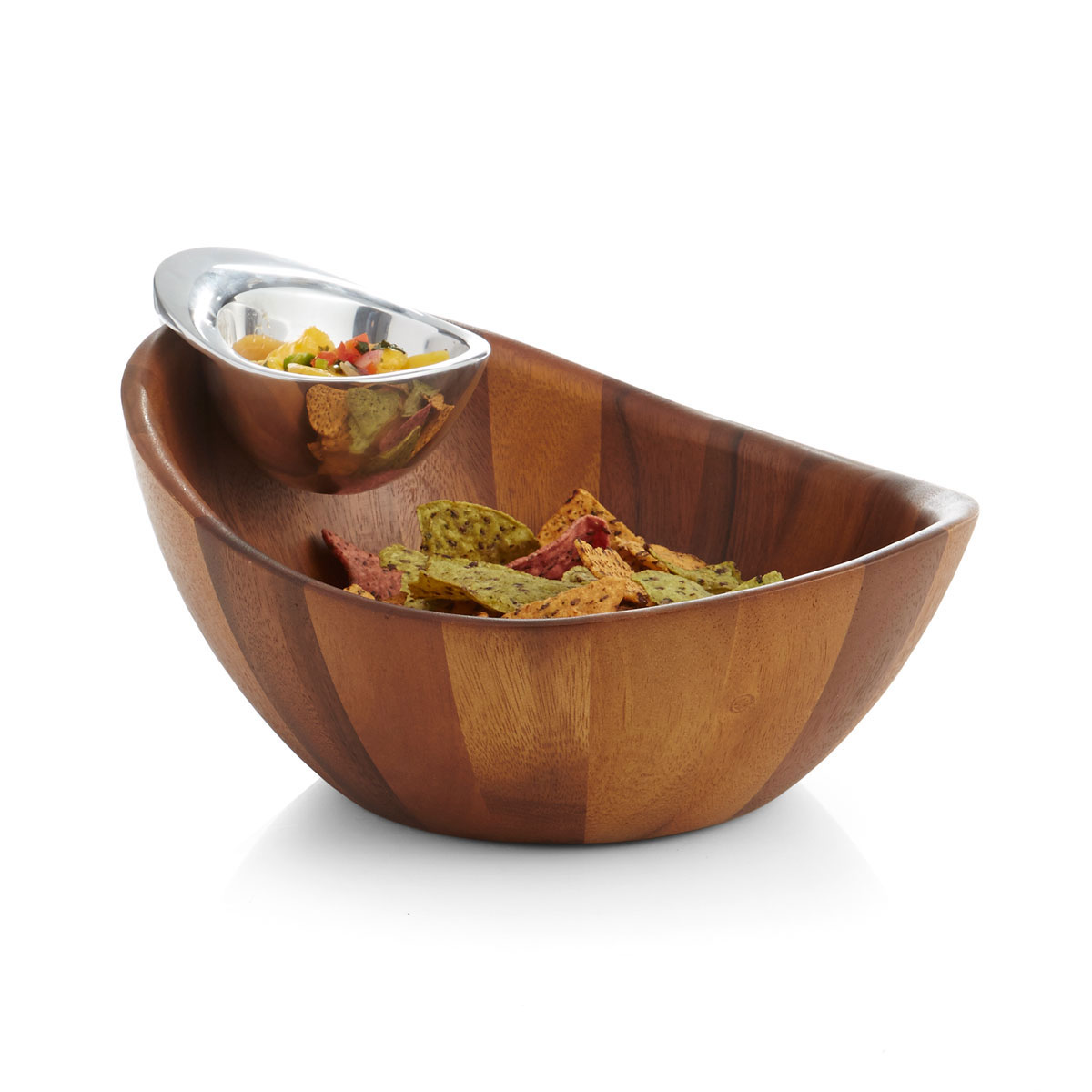 Nambe Gourmet Harmony Metal and Wood Chip and Dip