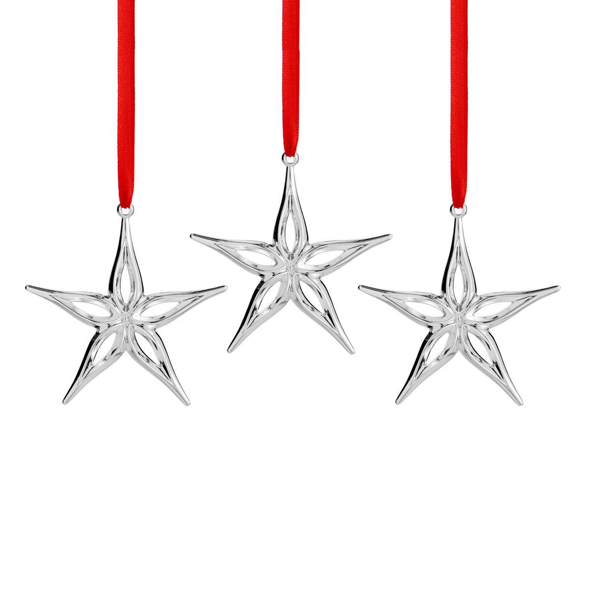 Nambe Mini Classic Modern Star Ornament, Set of Three