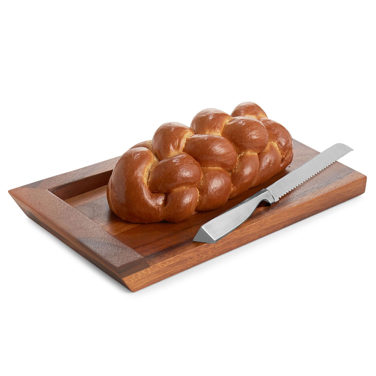 Nambe Geo Challah Board with Knife