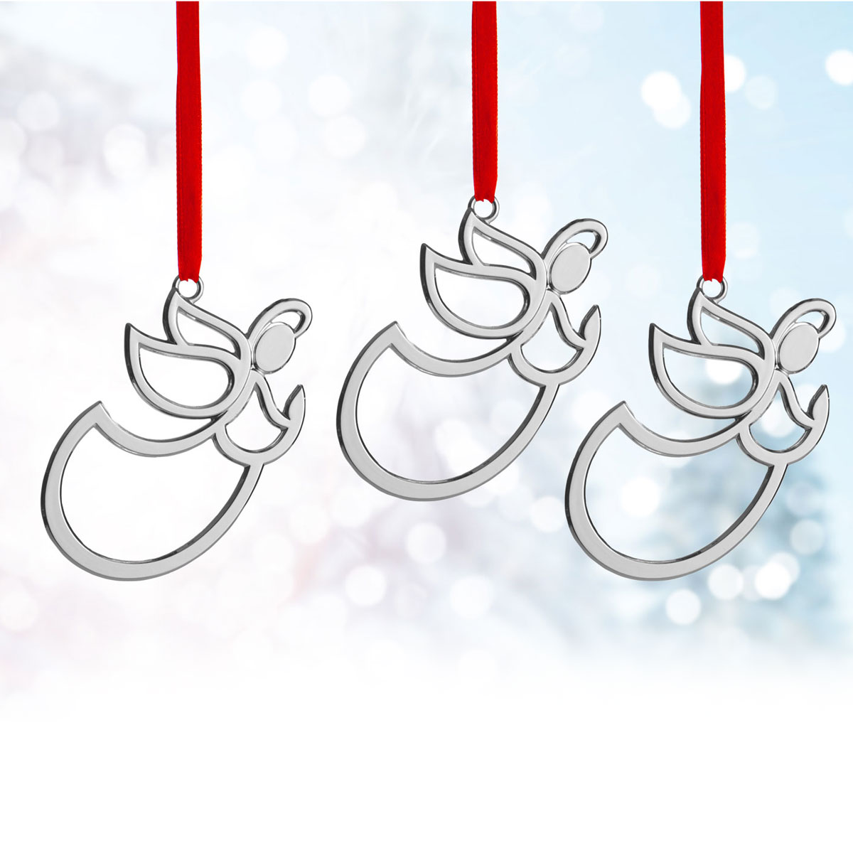 Nambe Mini Angel Ornament, Set of Three