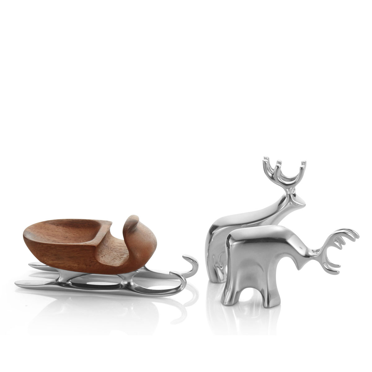 Nambe Mini Christmas Sleigh with Reindeer