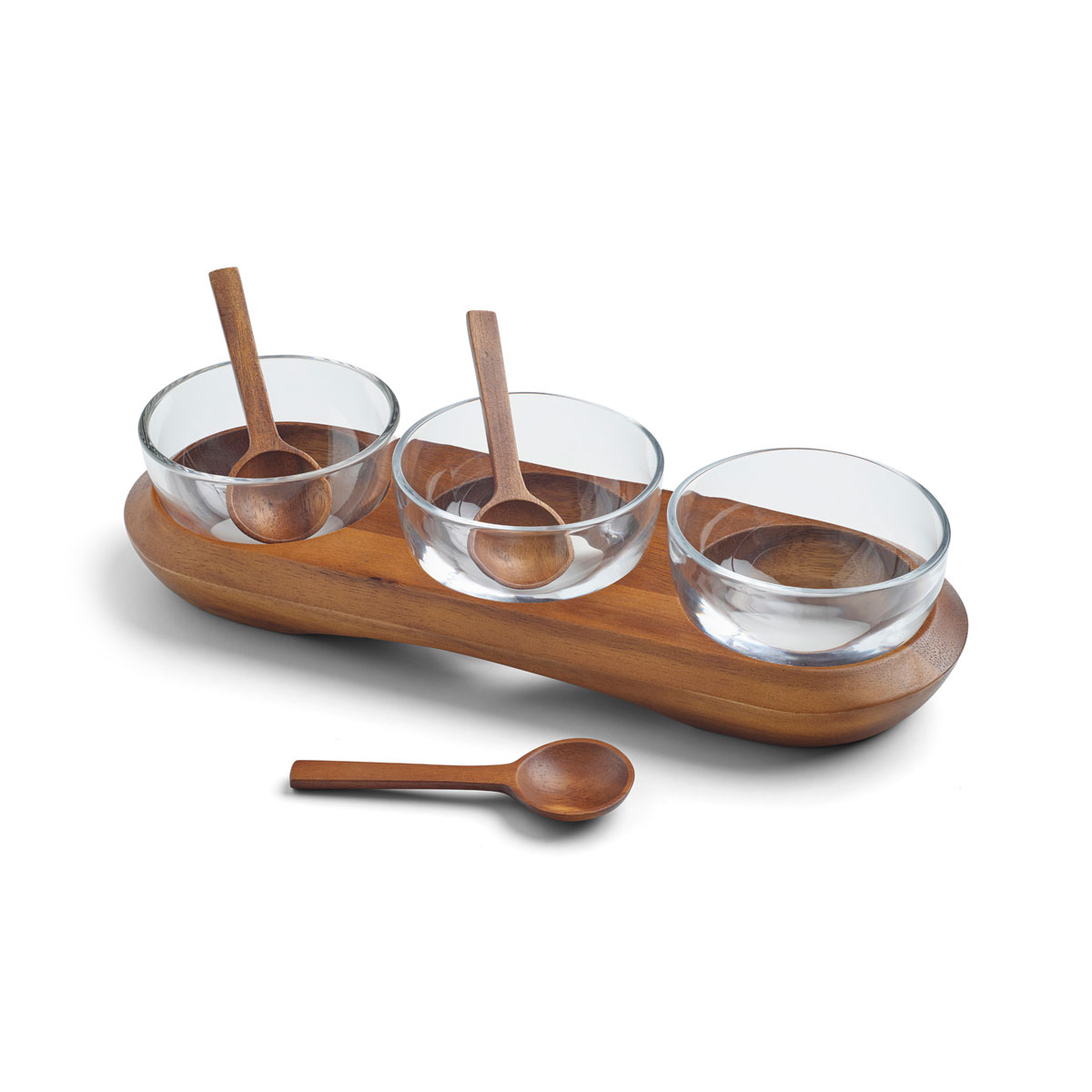Nambe Cooper Triple Condiment Server and Spoons