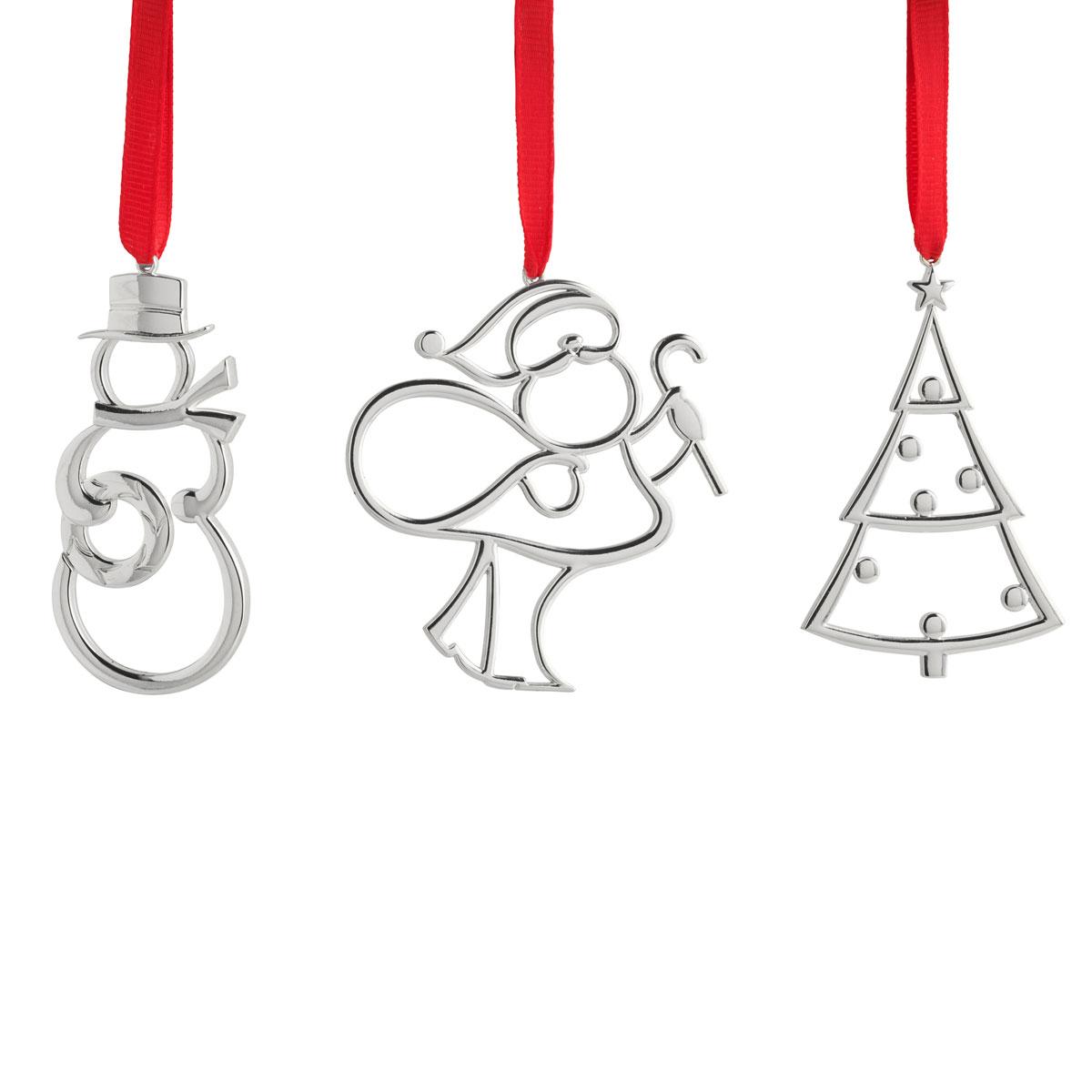 Nambe Mini 2020 Ornaments Santa,Tree, Snowman, Set of Three