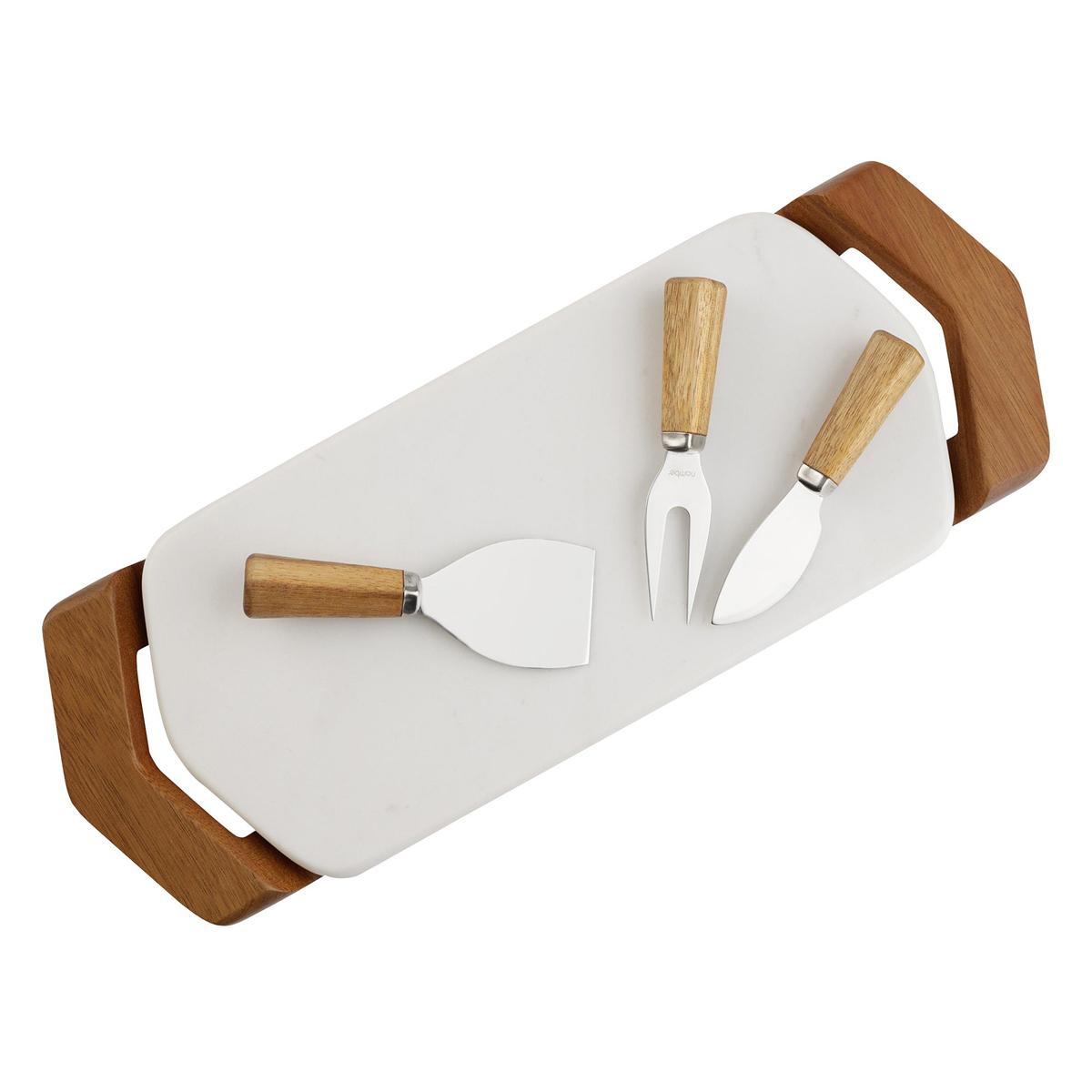 """Nambe Chevron 17"""" Cheese Tray with Knives"""
