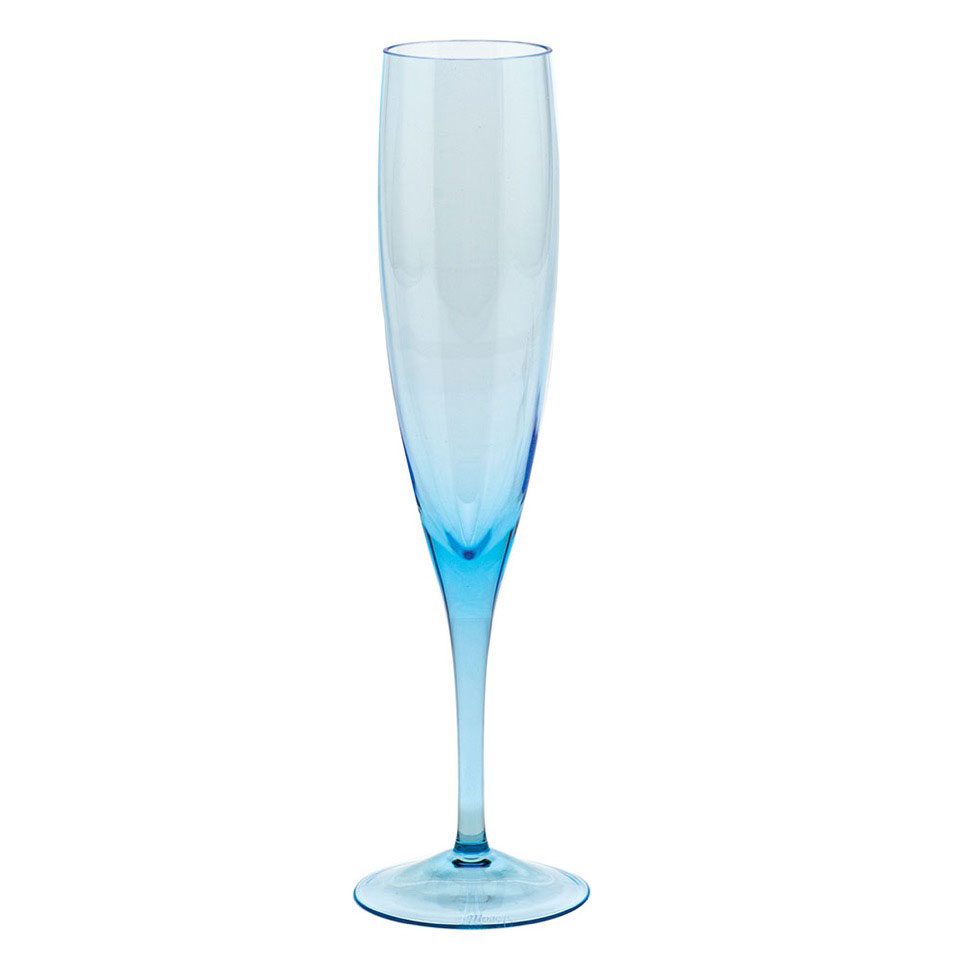 Moser Optic Champagne Flute Aquamarine, Single