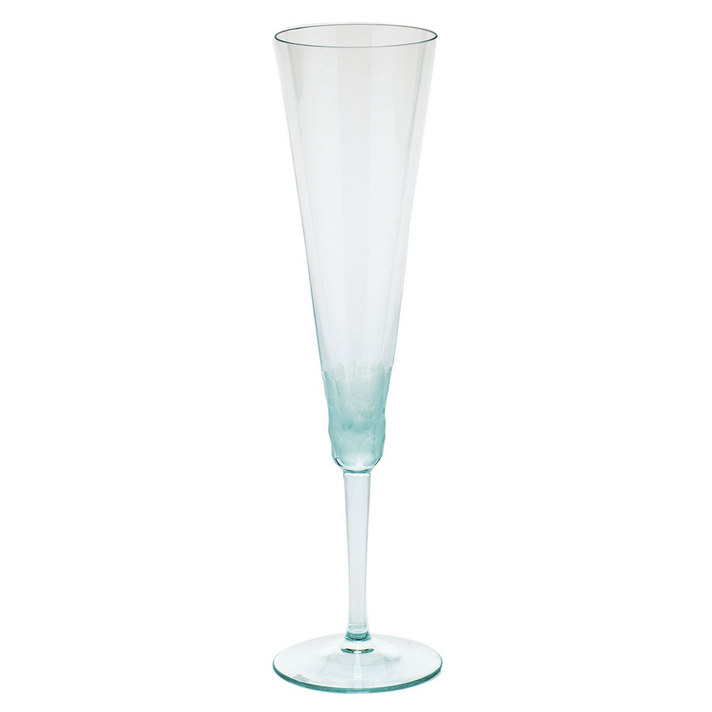 Moser Crystal Pebbles Champagne Flute, Beryl Green, Single
