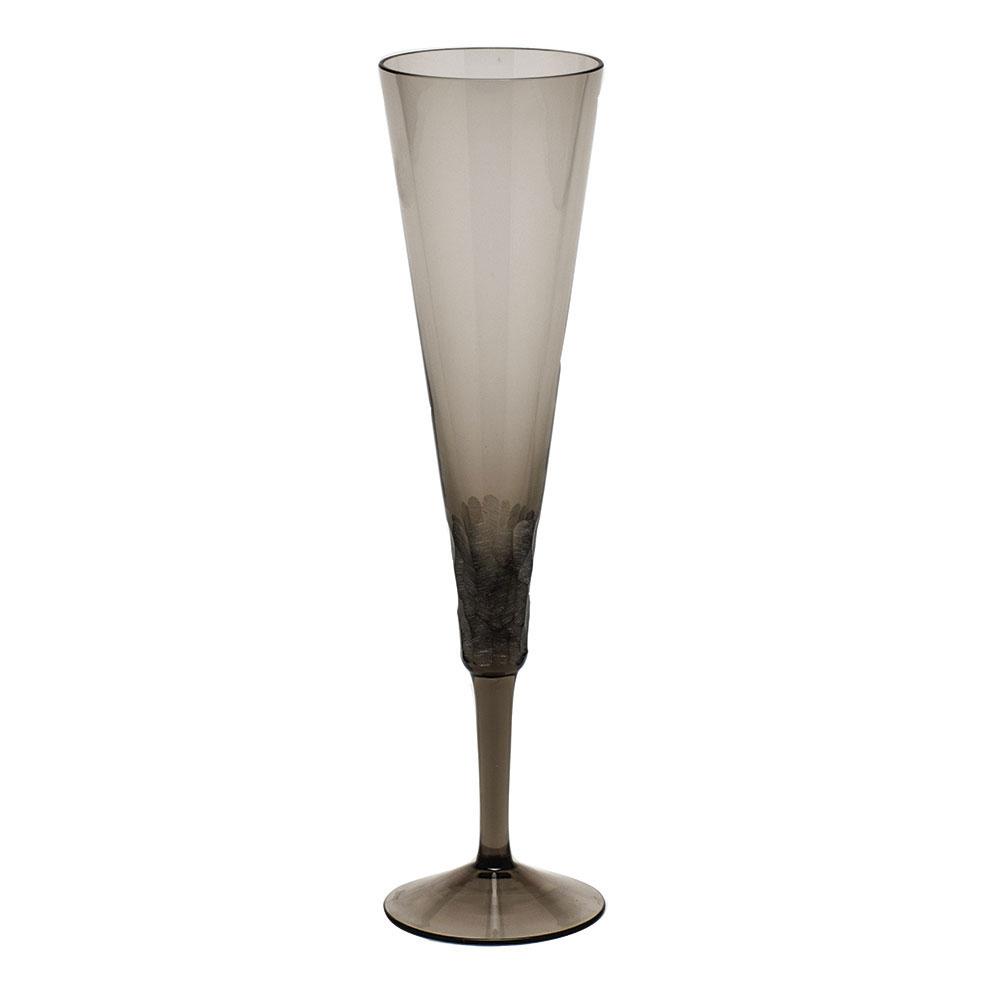 Moser Crystal Pebbles Champagne Flute, Smoke, Single