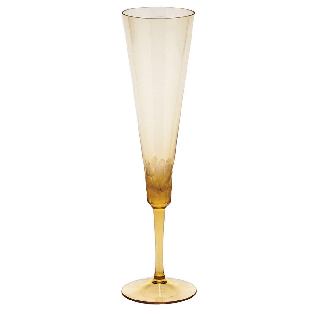 Moser Crystal Pebbles Champagne Flute, Topaz, Single