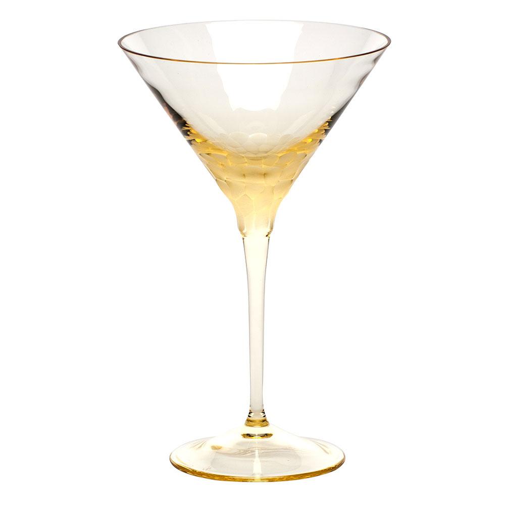 Moser Crystal Pebbles Martini Glass, Eldor Yellow, Single