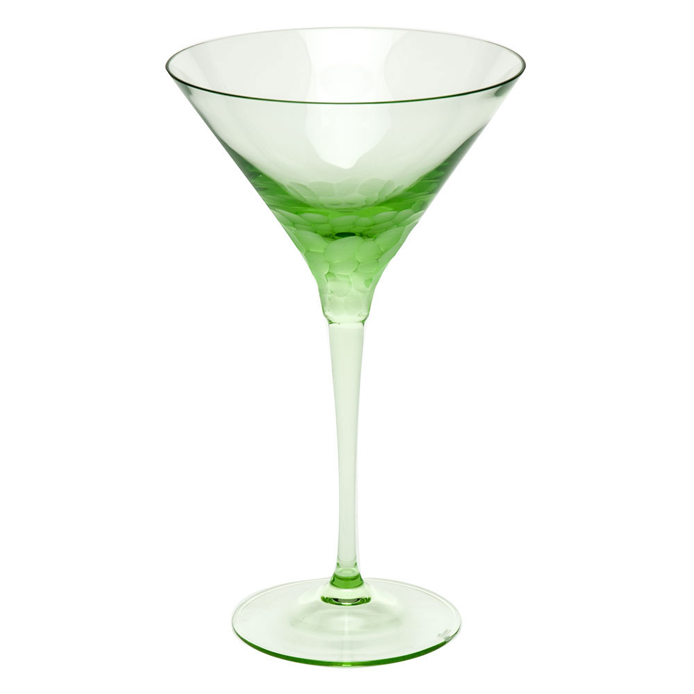 Moser Crystal Pebbles Martini Glass, Ocean Green, Single