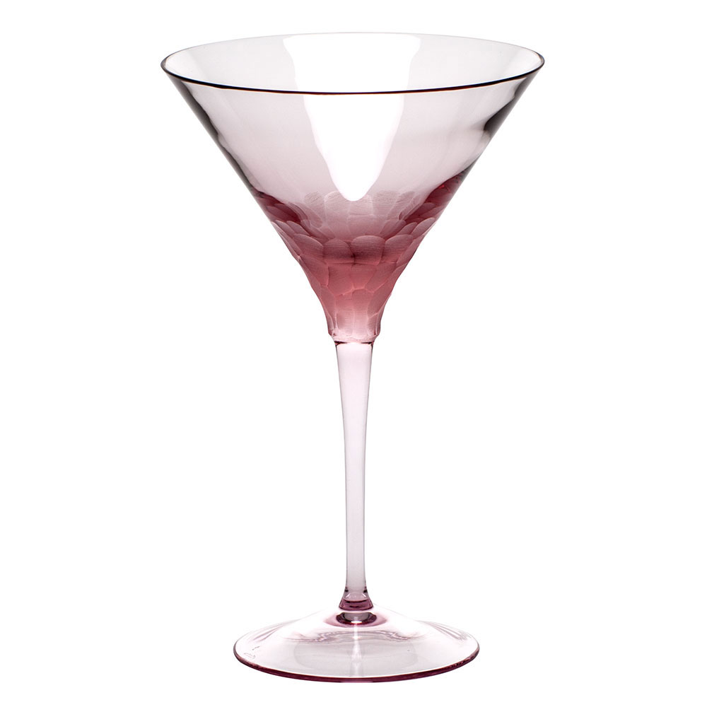 Moser Crystal Pebbles Martini Glass, Rosalin, Single
