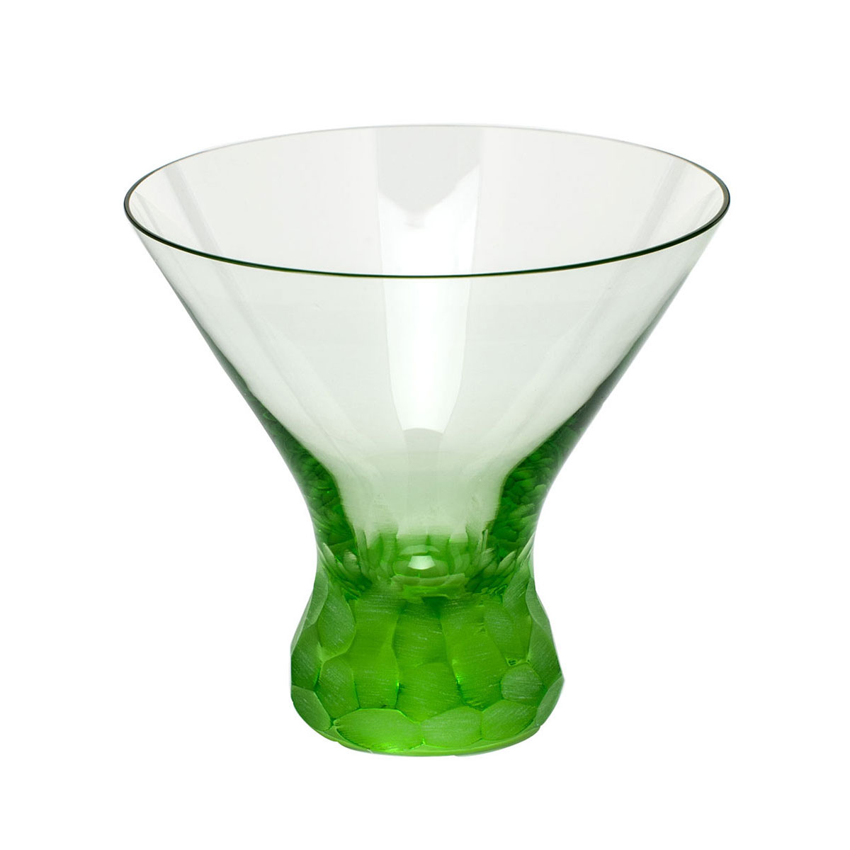 Moser Crystal Pebbles Stemless Martini Glass, Ocean Green, Single