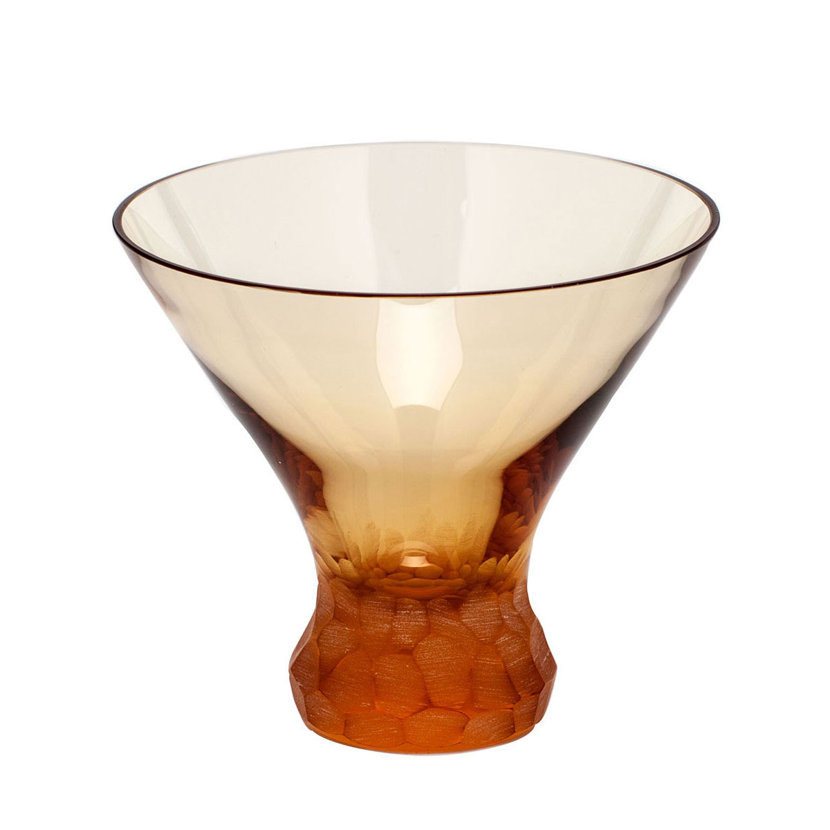 Moser Crystal Pebbles Stemless Martini Glass, Topaz, Single