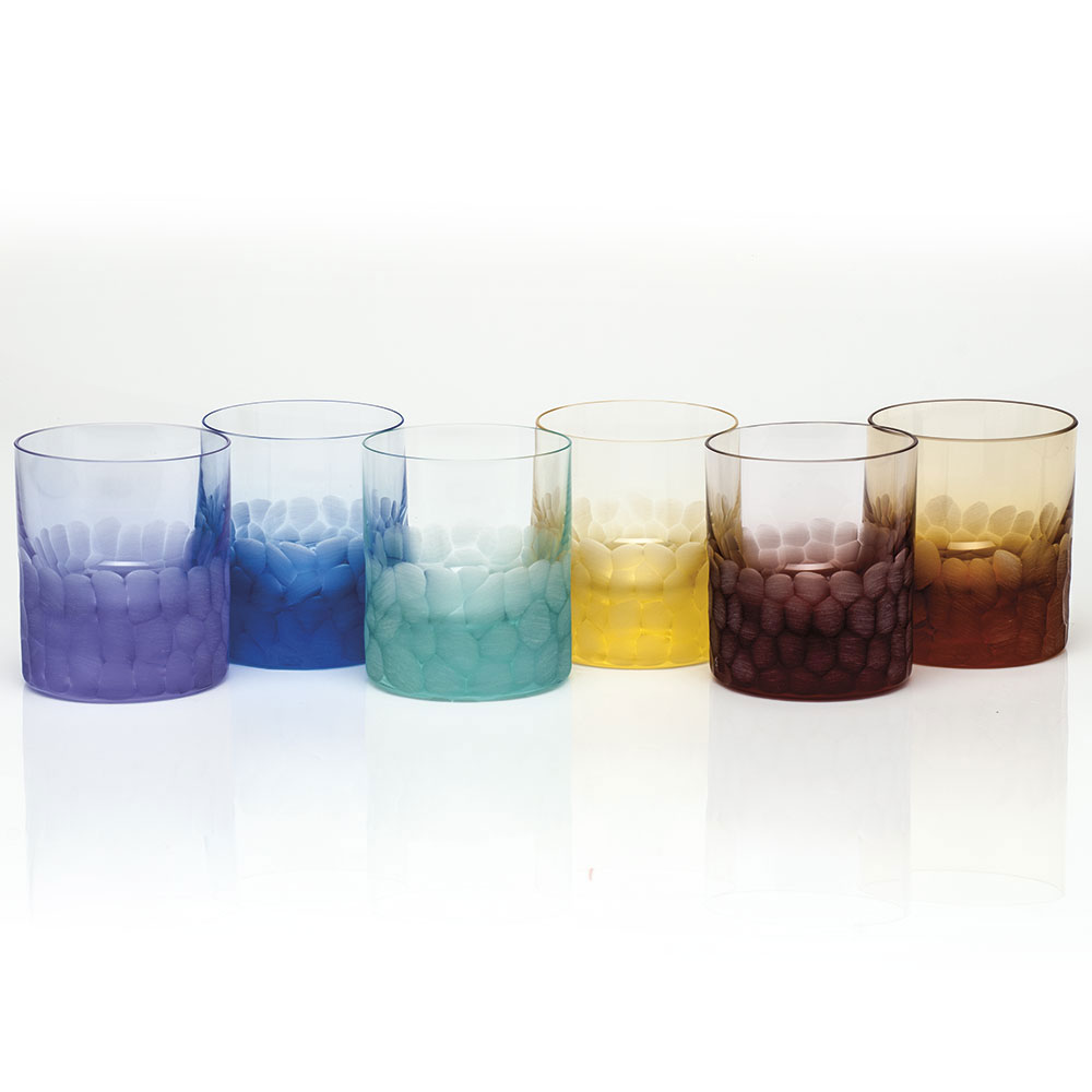 Moser Crystal Pebbles DOF Tumblers, Set of 6, Rainbow Colors
