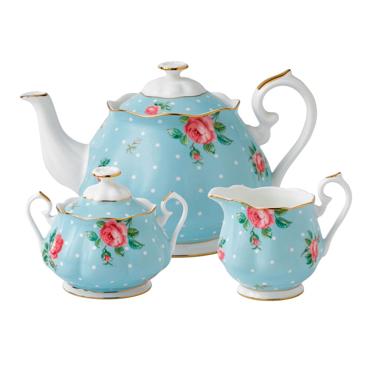 Royal Albert China Polka Blue 3 Piece Teaset - Teapot, Sugar, Creamer