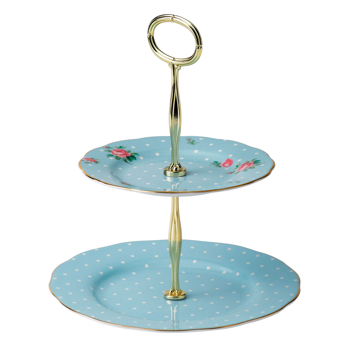 Royal Albert Polka Blue Cake Stand Two-Tier