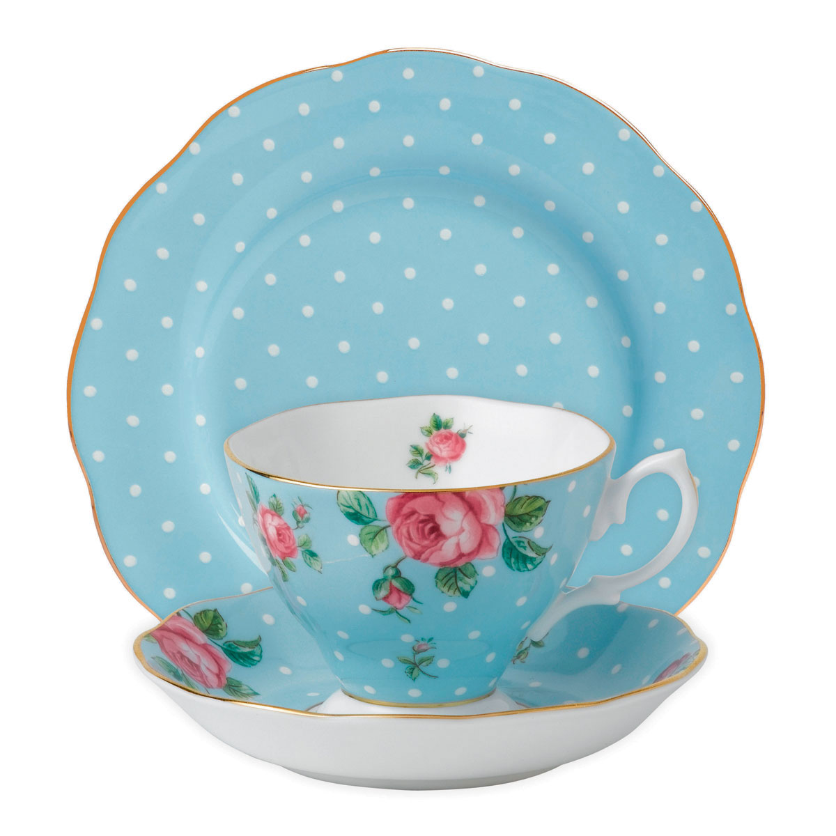"Royal Albert Polka Blue Teacup, Saucer and 8"" Plate Set"