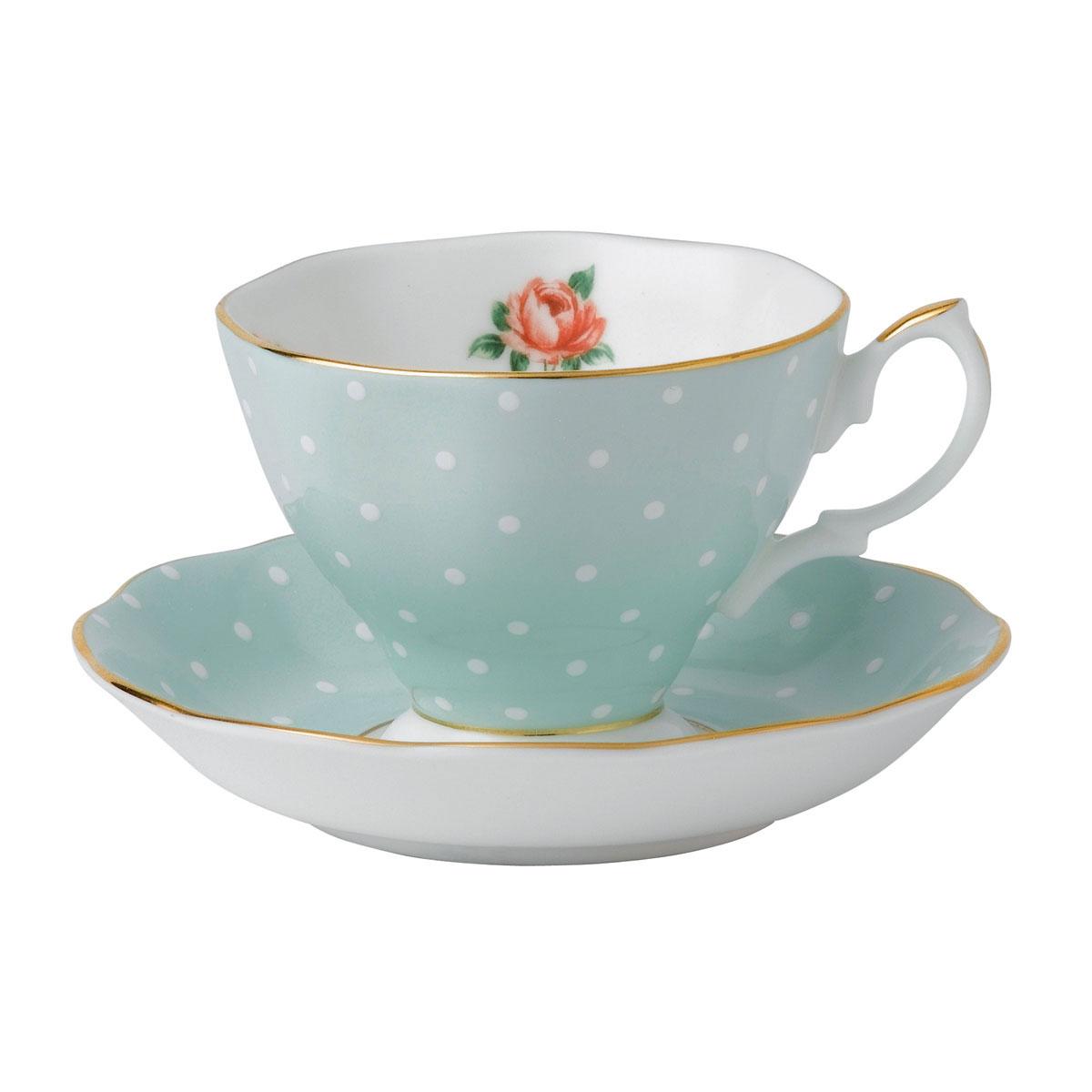 Royal Albert Polka Rose Teacup and Saucer Set
