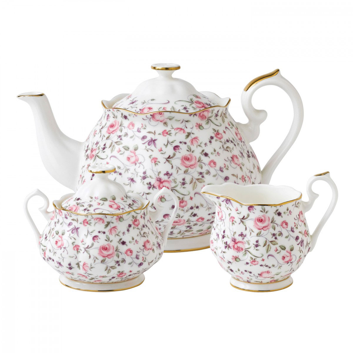 Royal Albert China Rose Confetti 3 pc Teaset - Teapot, Sugar, Creamer
