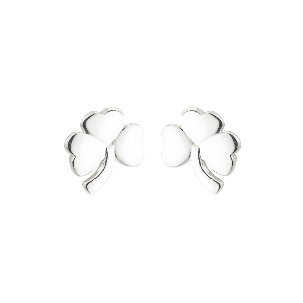 Cashs Ireland, Sterling Silver Small Shamrock Pierced Earrings Pair