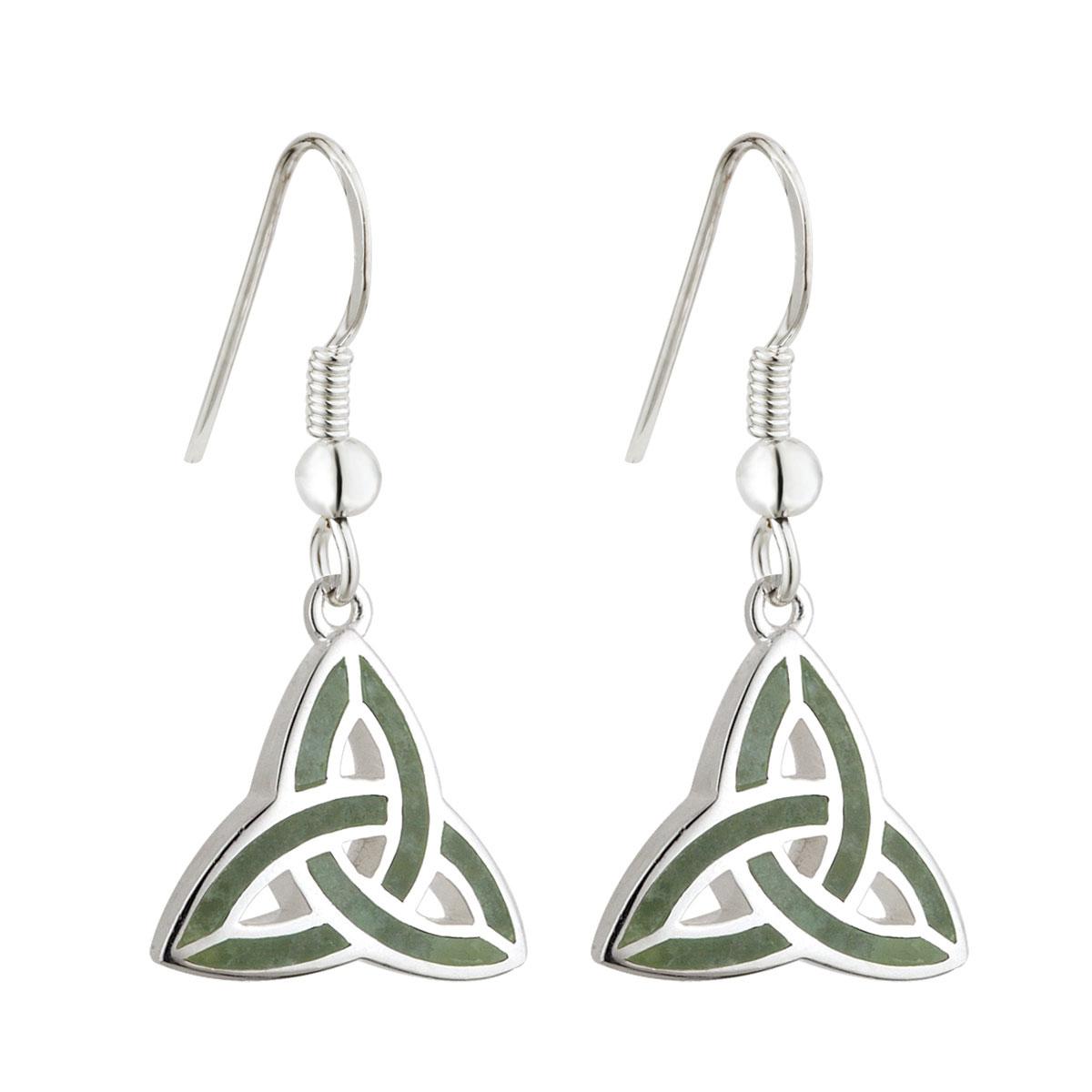 Cashs Ireland, Sterling Silver Connemara Marble Trinity Knot Drop Earrings