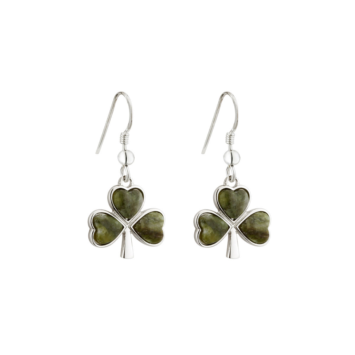 Cashs Ireland, Sterling Silver and Connemara Marble Shamrock Pierced Earrings Pair