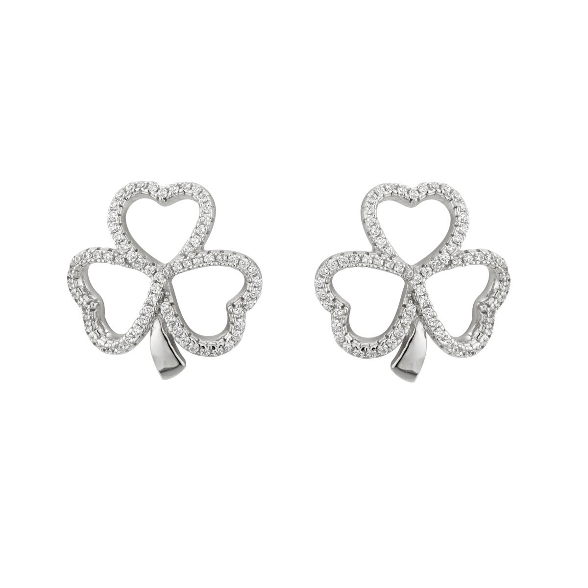 Cashs Ireland, Crystal Pave and Sterling Silver Shamrock Stud Pierced Earrings Pair