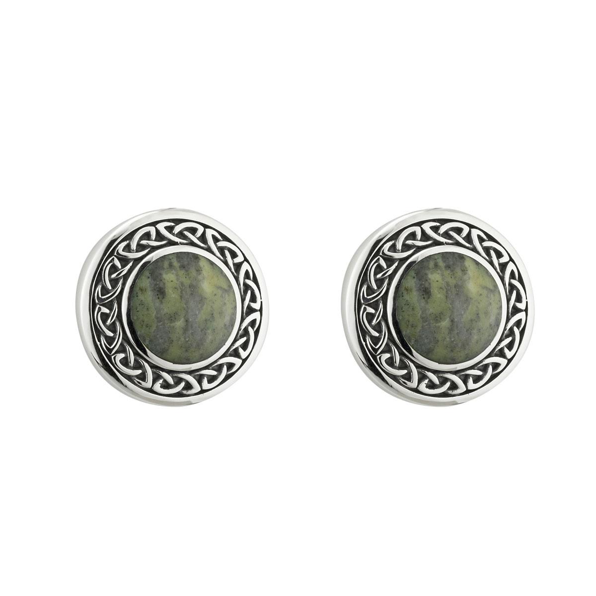 Cashs Ireland, Sterling Silver Connemara Marble Round Stud Earrings