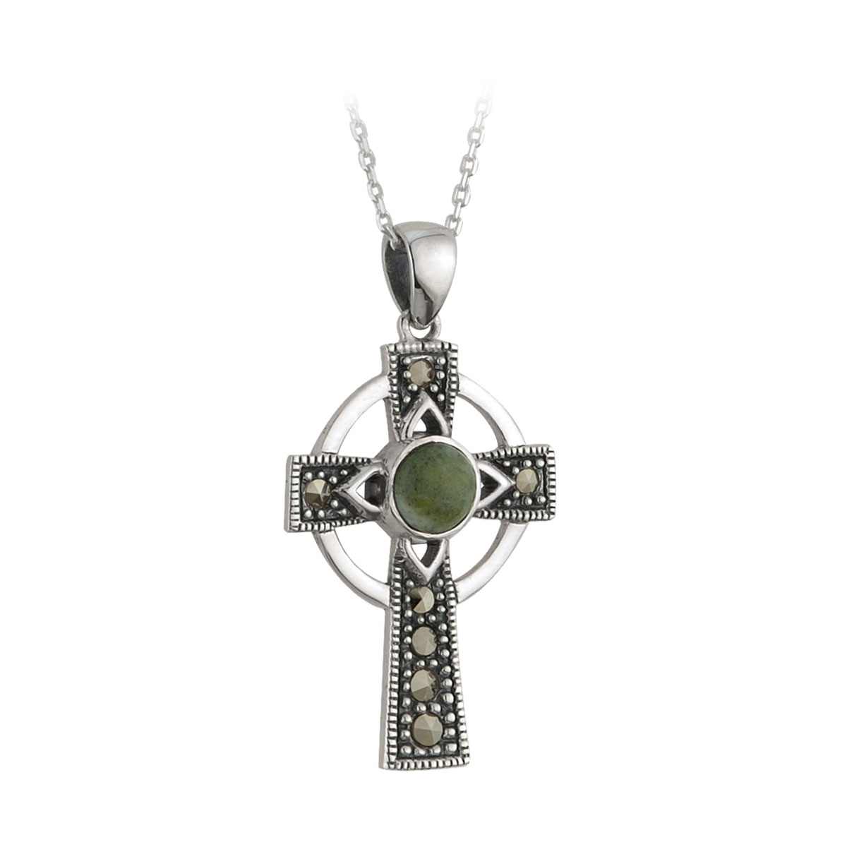 Cashs Ireland, Sterling Silver Cross With Round Connemara Marble Pendant Necklace