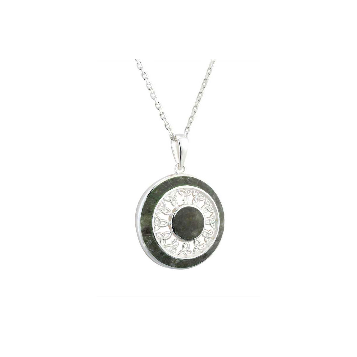 Cashs Ireland, Sterling Silver and Connemara Marble Round Trinity Pendant