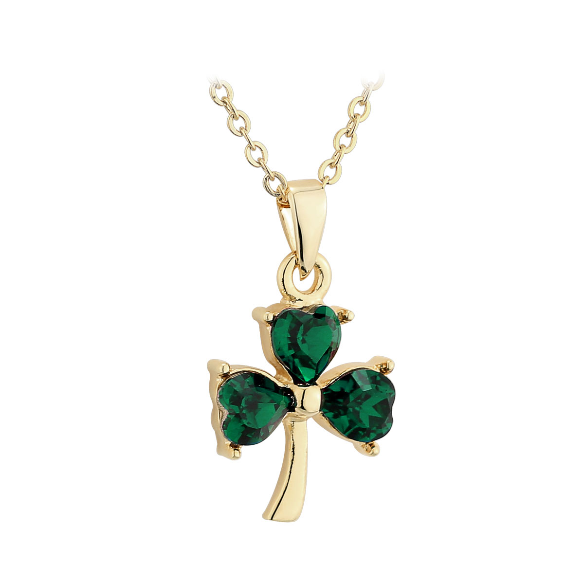 Cashs Ireland, Gold-Plated Small Shamrock and Crystal Pendant Necklace
