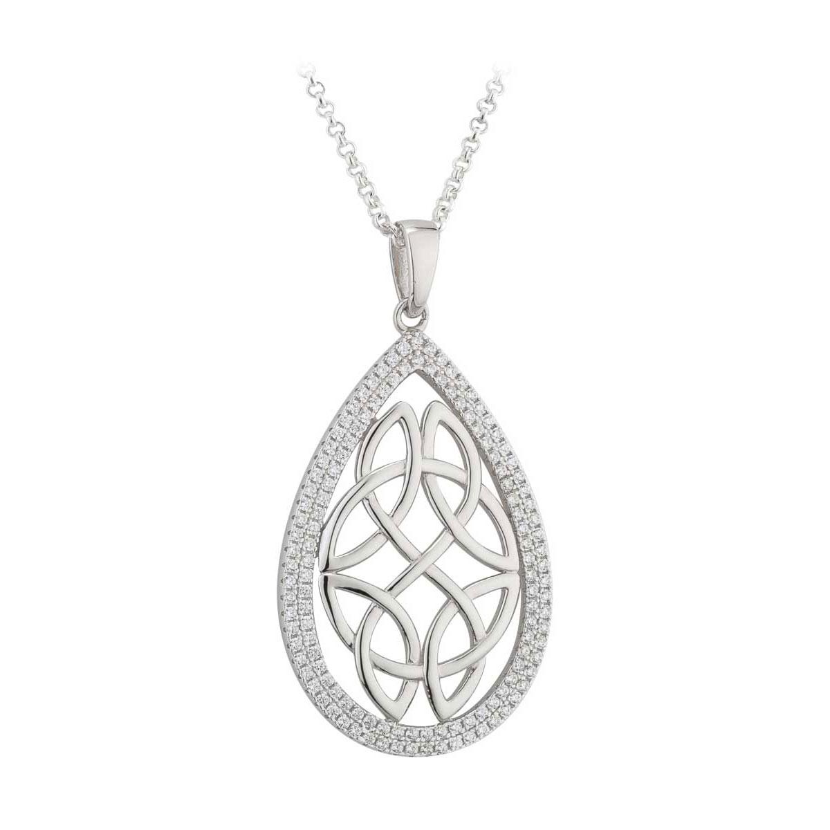 Cashs Ireland, Crystal Pave Sterling Silver Oval Celtic Knot Pendant Necklace