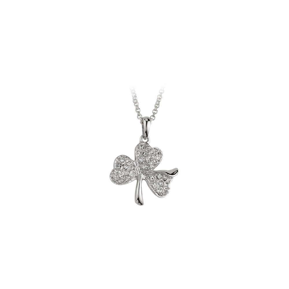 Cashs Ireland, Crystal Pave and Rhodium Shamrock Pendant Necklace