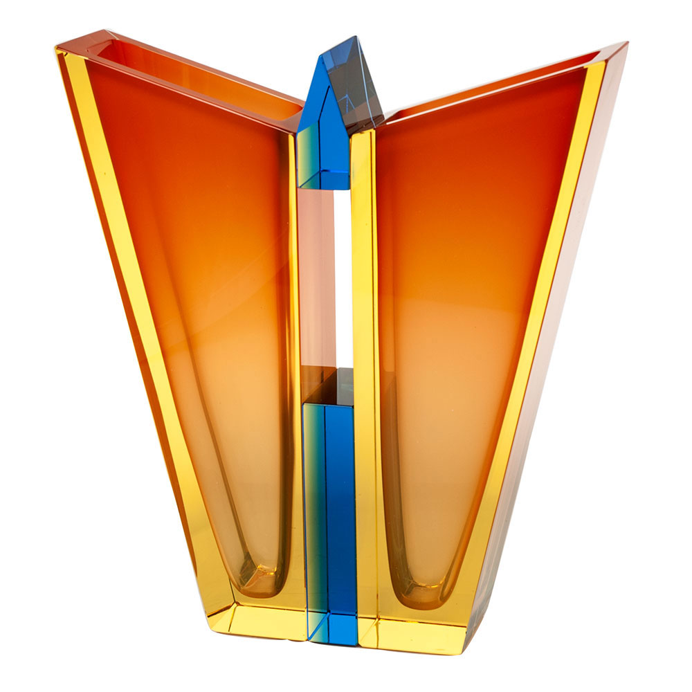 "Moser Crystal Butterfly Vase 14.2"" Eldor and Orange and Aquamarine"