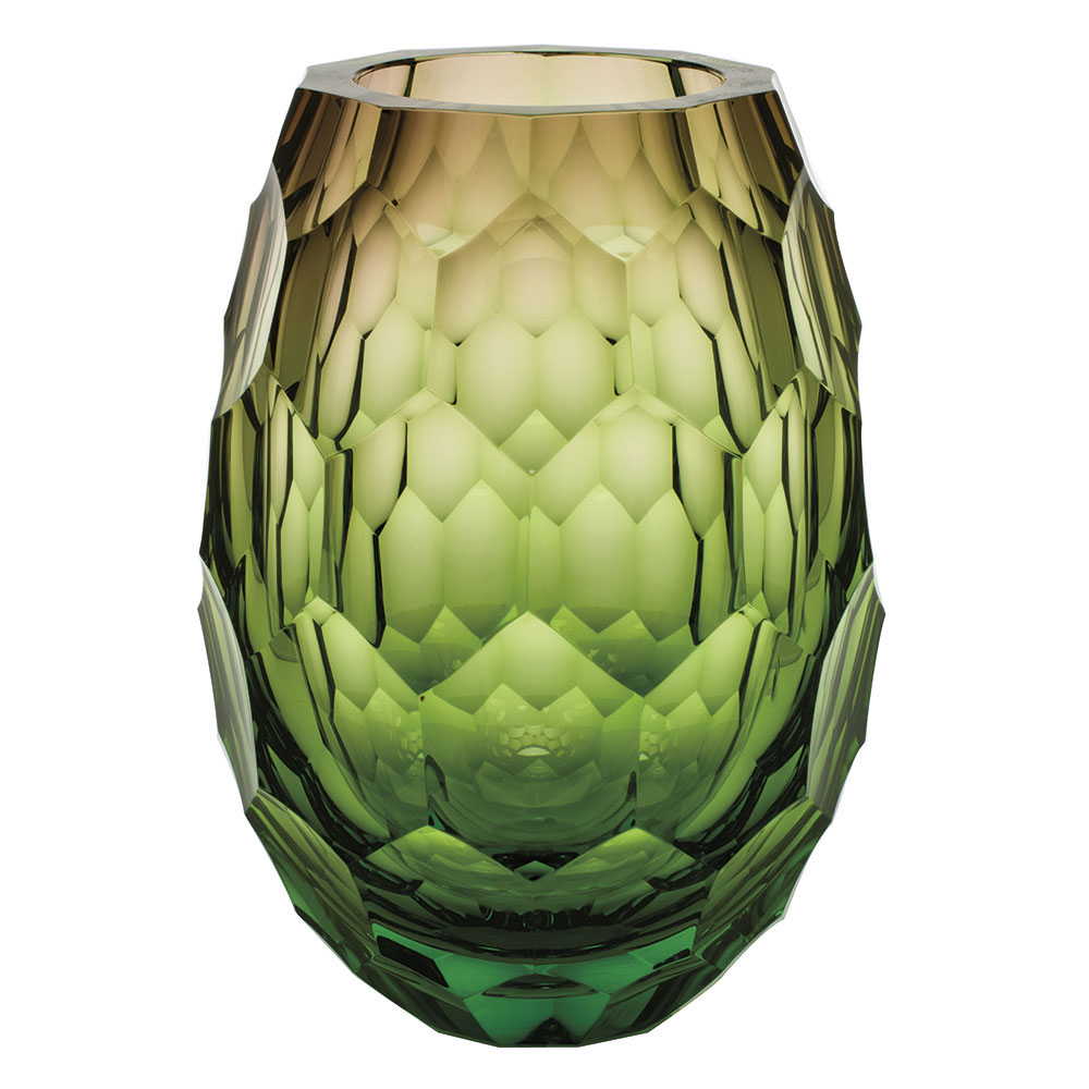 "Moser Crystal Caorle Vase 11.8"" Cut Edges - Ocean Green and Rose"