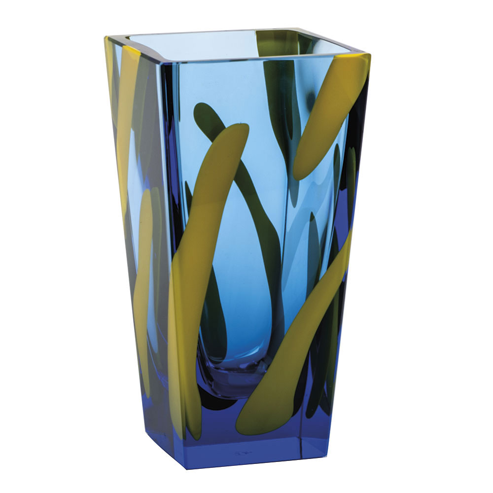 "Moser Crystal Colourful Vase 12.6"" Aquamarine With Yellow Enamel"