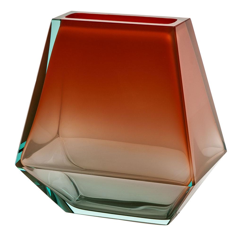 "Moser Crystal City Vase 9.8"" Beryl and Orange"