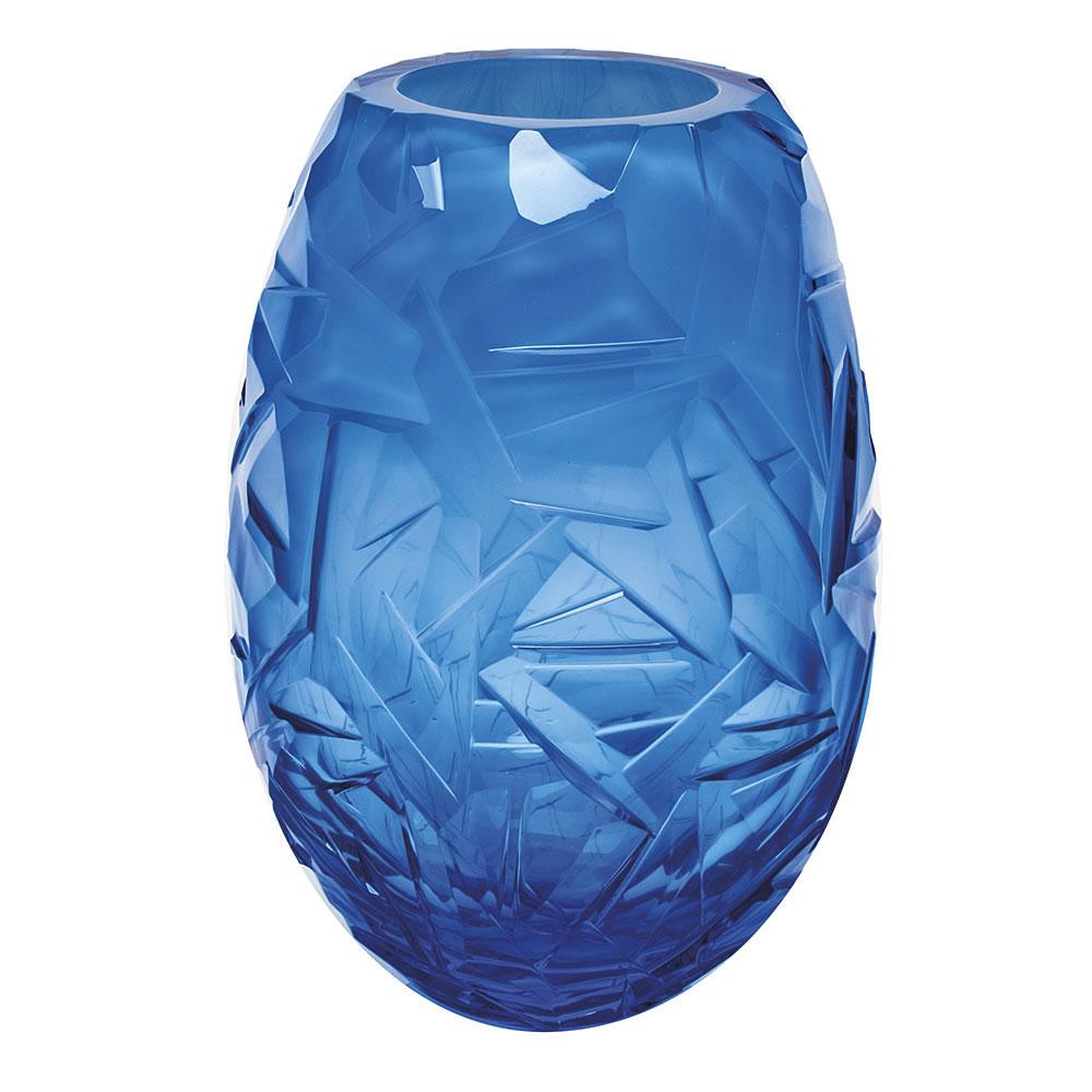 """Moser Crystal Danae Vase 11.8"""" Drift Ice, Aquamarine and White"""