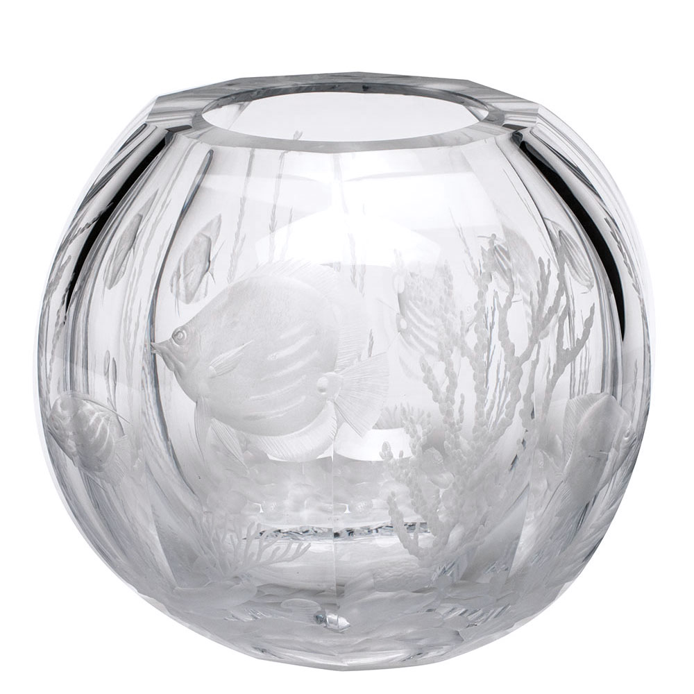 "Moser Crystal Globe Vase 10.6"" Coral Fish, Clear"