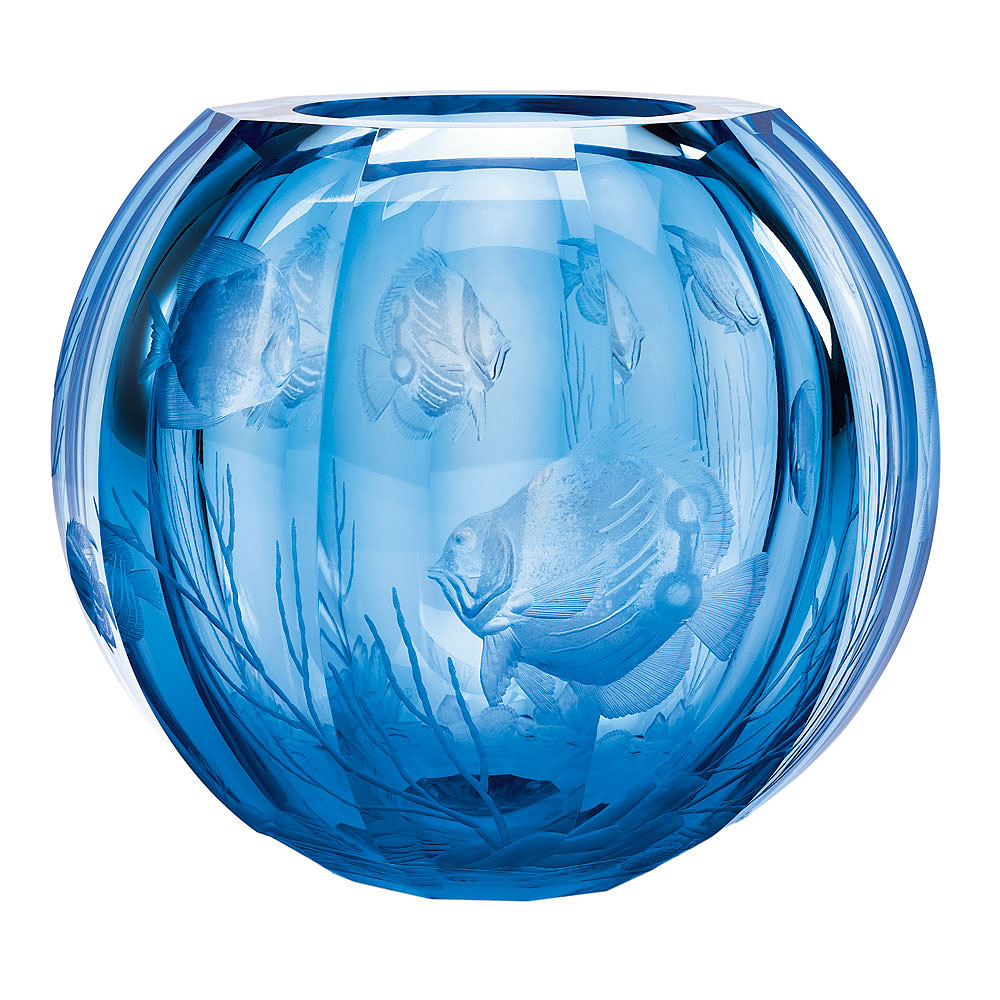 "Moser Crystal Globe Vase 10.6"" Coral Fish - Aquamarine"